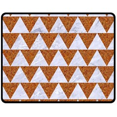 Triangle2 White Marble & Rusted Metal Double Sided Fleece Blanket (medium)
