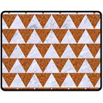 TRIANGLE2 WHITE MARBLE & RUSTED METAL Double Sided Fleece Blanket (Medium)  58.8 x47.4 Blanket Back
