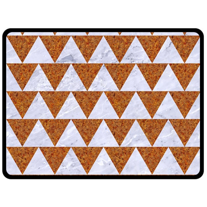 TRIANGLE2 WHITE MARBLE & RUSTED METAL Double Sided Fleece Blanket (Large)