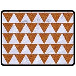 TRIANGLE2 WHITE MARBLE & RUSTED METAL Double Sided Fleece Blanket (Large)  80 x60 Blanket Back