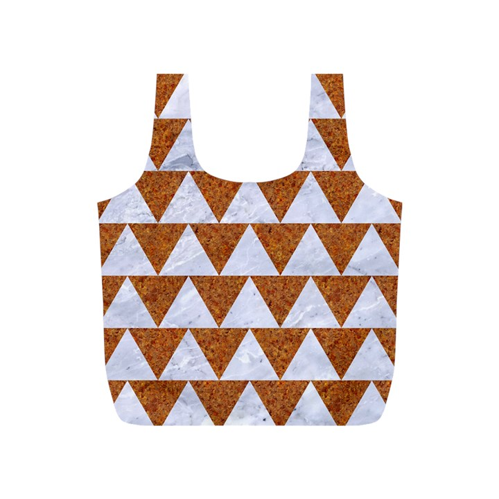TRIANGLE2 WHITE MARBLE & RUSTED METAL Full Print Recycle Bags (S)