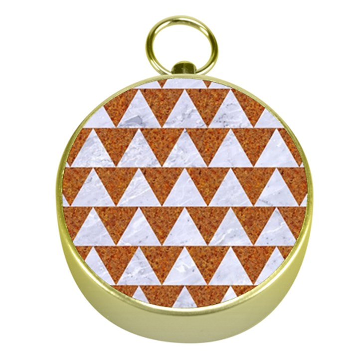 TRIANGLE2 WHITE MARBLE & RUSTED METAL Gold Compasses