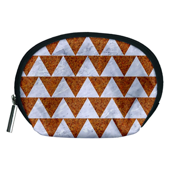 TRIANGLE2 WHITE MARBLE & RUSTED METAL Accessory Pouches (Medium)