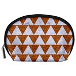 TRIANGLE2 WHITE MARBLE & RUSTED METAL Accessory Pouches (Large)  Front