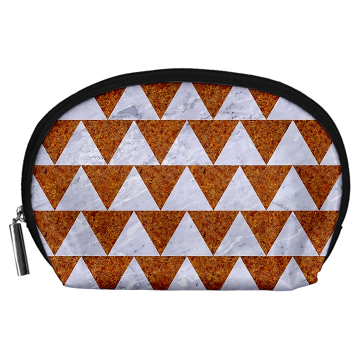 TRIANGLE2 WHITE MARBLE & RUSTED METAL Accessory Pouches (Large)