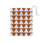 TRIANGLE2 WHITE MARBLE & RUSTED METAL Drawstring Pouches (Medium)  Front