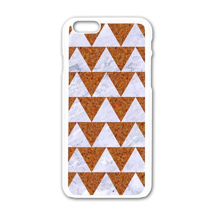 TRIANGLE2 WHITE MARBLE & RUSTED METAL Apple iPhone 6/6S White Enamel Case