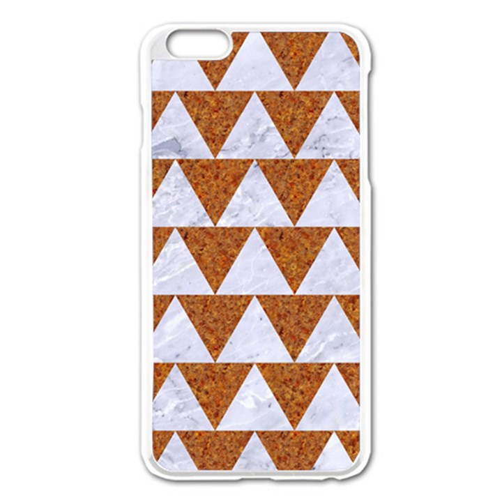 TRIANGLE2 WHITE MARBLE & RUSTED METAL Apple iPhone 6 Plus/6S Plus Enamel White Case