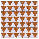 TRIANGLE2 WHITE MARBLE & RUSTED METAL Large Satin Scarf (Square) Front