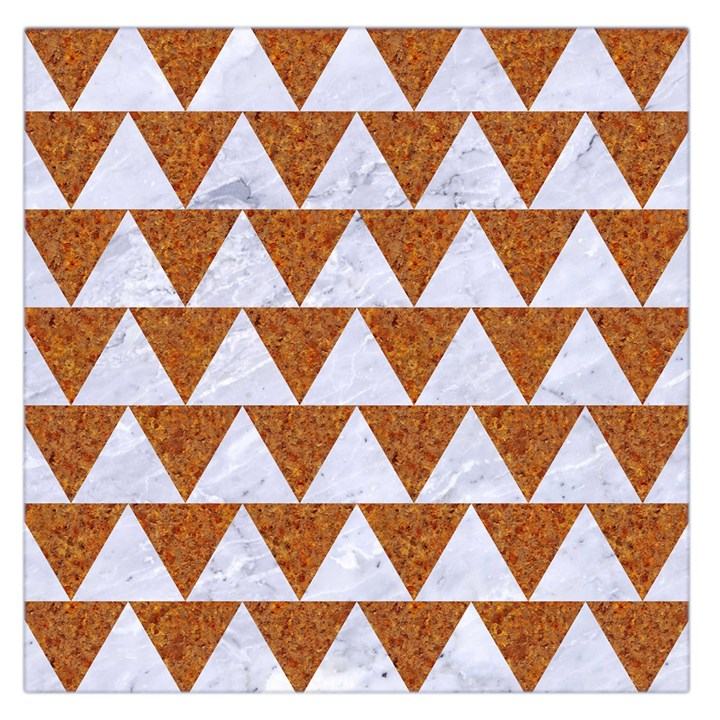 TRIANGLE2 WHITE MARBLE & RUSTED METAL Large Satin Scarf (Square)