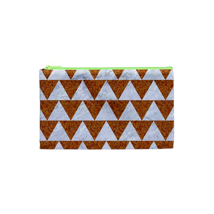 TRIANGLE2 WHITE MARBLE & RUSTED METAL Cosmetic Bag (XS)