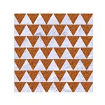 TRIANGLE2 WHITE MARBLE & RUSTED METAL Small Satin Scarf (Square) Front