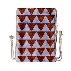 Triangle2 White Marble & Rusted Metal Drawstring Bag (small)