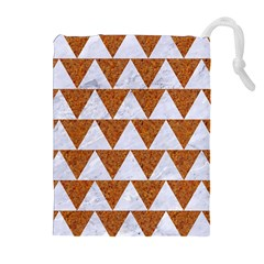 Triangle2 White Marble & Rusted Metal Drawstring Pouches (extra Large)