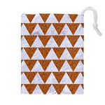 TRIANGLE2 WHITE MARBLE & RUSTED METAL Drawstring Pouches (Extra Large) Front
