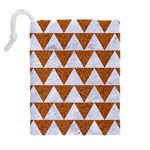 TRIANGLE2 WHITE MARBLE & RUSTED METAL Drawstring Pouches (Extra Large) Back