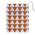 TRIANGLE2 WHITE MARBLE & RUSTED METAL Drawstring Pouches (XXL) Front