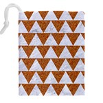 TRIANGLE2 WHITE MARBLE & RUSTED METAL Drawstring Pouches (XXL) Back