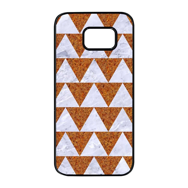TRIANGLE2 WHITE MARBLE & RUSTED METAL Samsung Galaxy S7 edge Black Seamless Case
