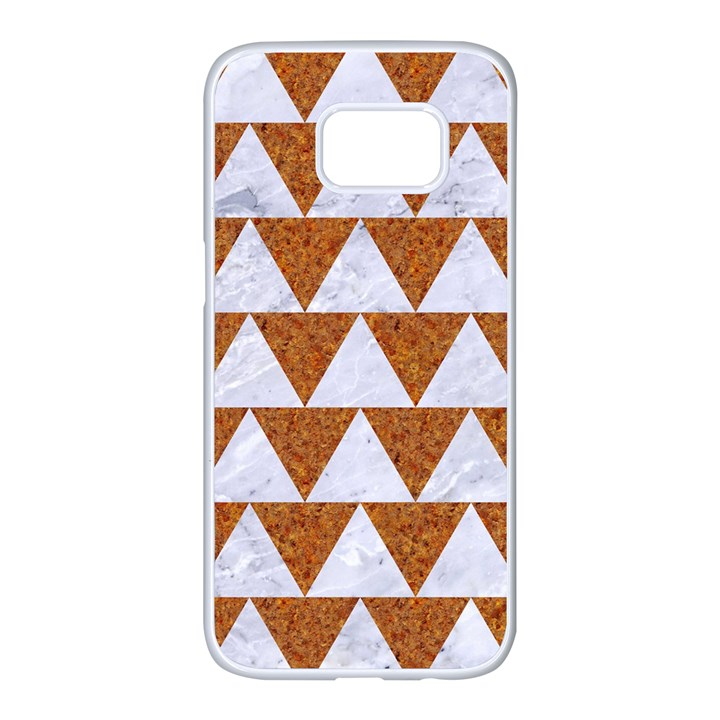 TRIANGLE2 WHITE MARBLE & RUSTED METAL Samsung Galaxy S7 edge White Seamless Case