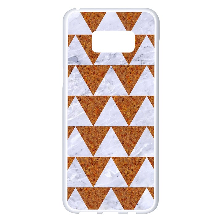 TRIANGLE2 WHITE MARBLE & RUSTED METAL Samsung Galaxy S8 Plus White Seamless Case