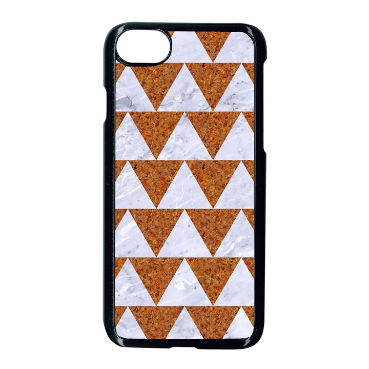 TRIANGLE2 WHITE MARBLE & RUSTED METAL Apple iPhone 8 Seamless Case (Black)