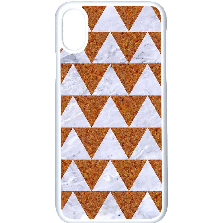 TRIANGLE2 WHITE MARBLE & RUSTED METAL Apple iPhone X Seamless Case (White)