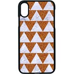 TRIANGLE2 WHITE MARBLE & RUSTED METAL Apple iPhone X Seamless Case (Black) Front