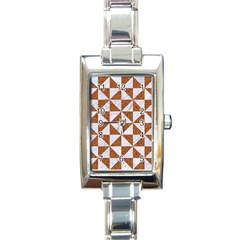Triangle1 White Marble & Rusted Metal Rectangle Italian Charm Watch