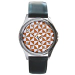 TRIANGLE1 WHITE MARBLE & RUSTED METAL Round Metal Watch Front