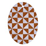 TRIANGLE1 WHITE MARBLE & RUSTED METAL Ornament (Oval) Front