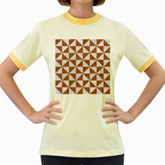 Triangle1 White Marble & Rusted Metal Women s Fitted Ringer T Shirts