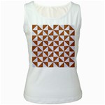 TRIANGLE1 WHITE MARBLE & RUSTED METAL Women s White Tank Top Front