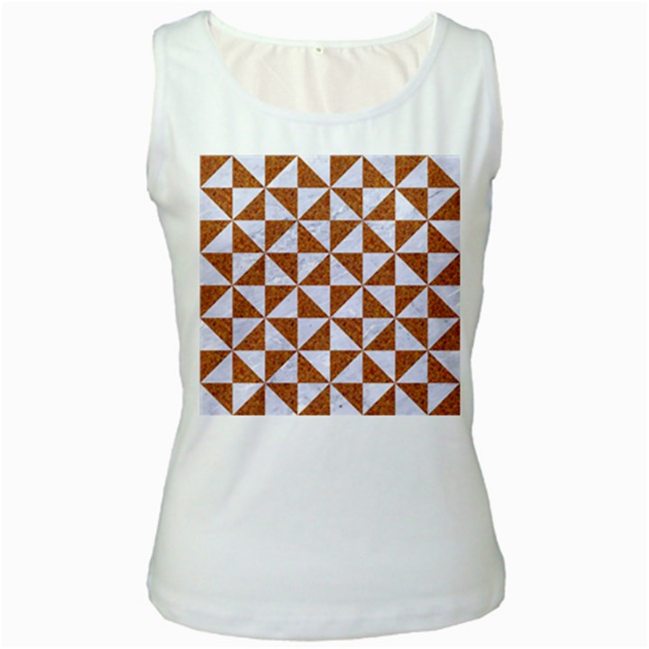TRIANGLE1 WHITE MARBLE & RUSTED METAL Women s White Tank Top