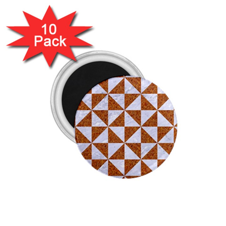 TRIANGLE1 WHITE MARBLE & RUSTED METAL 1.75  Magnets (10 pack)