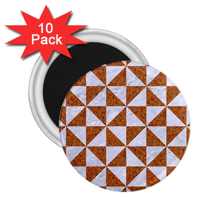TRIANGLE1 WHITE MARBLE & RUSTED METAL 2.25  Magnets (10 pack)