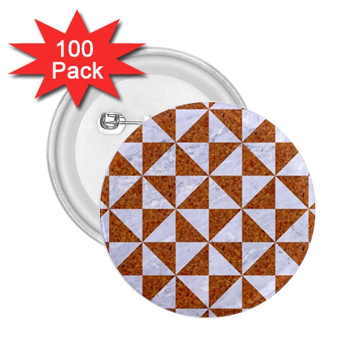 TRIANGLE1 WHITE MARBLE & RUSTED METAL 2.25  Buttons (100 pack)