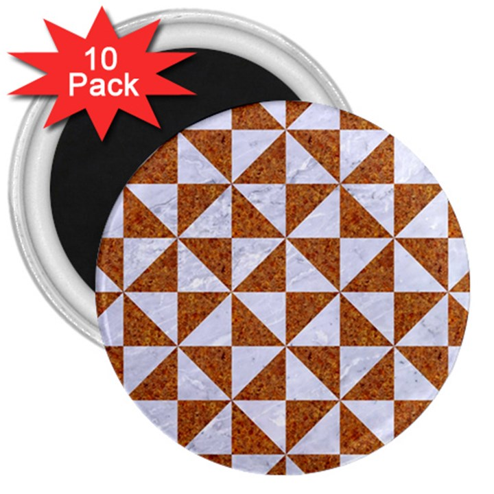 TRIANGLE1 WHITE MARBLE & RUSTED METAL 3  Magnets (10 pack)