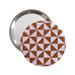 TRIANGLE1 WHITE MARBLE & RUSTED METAL 2.25  Handbag Mirrors Front