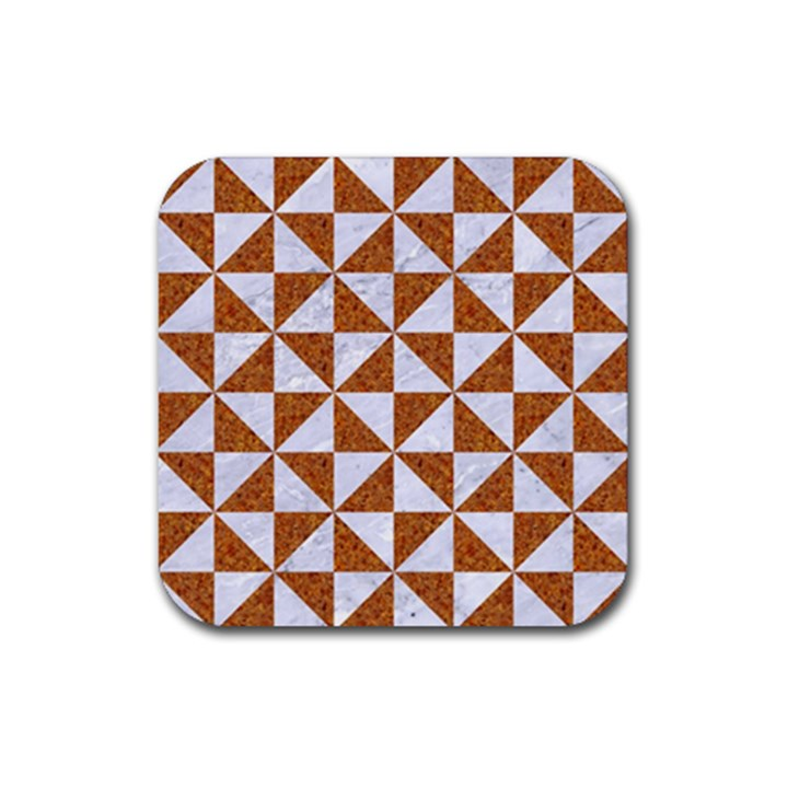 TRIANGLE1 WHITE MARBLE & RUSTED METAL Rubber Square Coaster (4 pack)