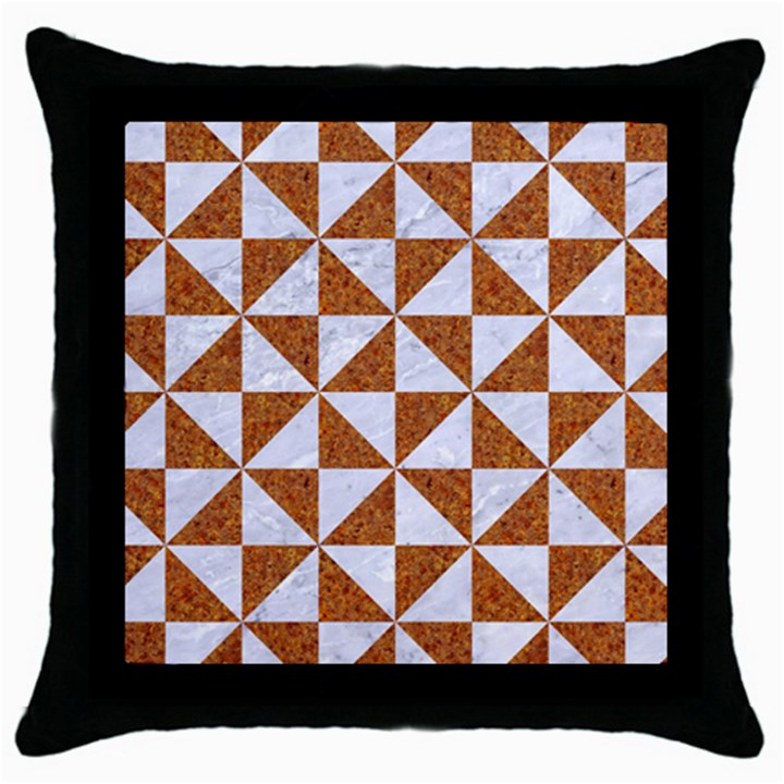 TRIANGLE1 WHITE MARBLE & RUSTED METAL Throw Pillow Case (Black)
