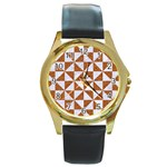 TRIANGLE1 WHITE MARBLE & RUSTED METAL Round Gold Metal Watch Front