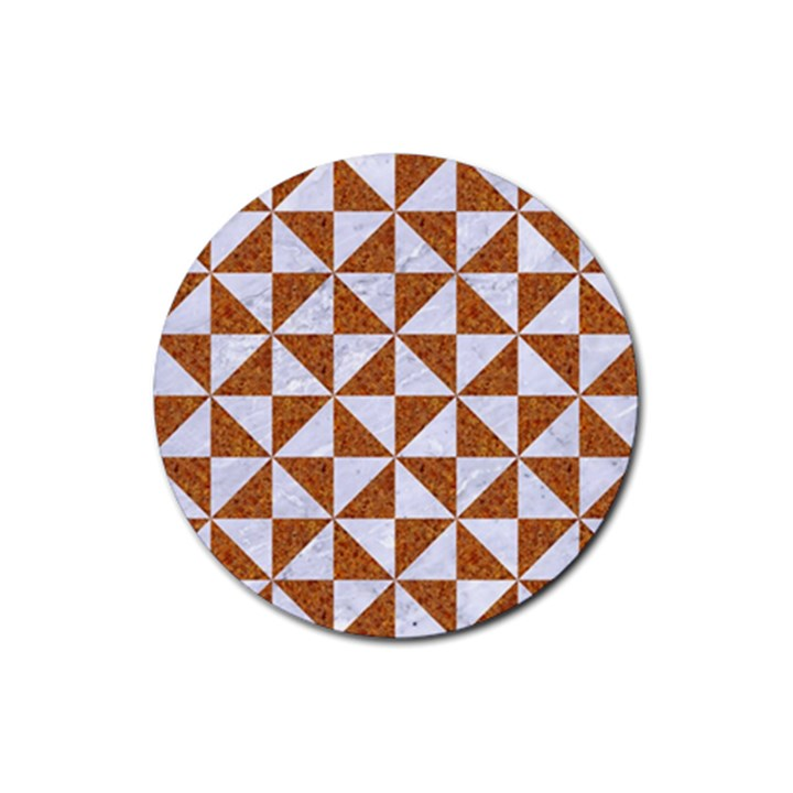 TRIANGLE1 WHITE MARBLE & RUSTED METAL Rubber Coaster (Round)