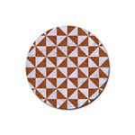TRIANGLE1 WHITE MARBLE & RUSTED METAL Rubber Round Coaster (4 pack)  Front