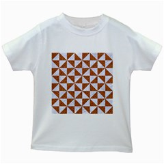 Triangle1 White Marble & Rusted Metal Kids White T Shirts