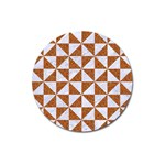 TRIANGLE1 WHITE MARBLE & RUSTED METAL Magnet 3  (Round) Front