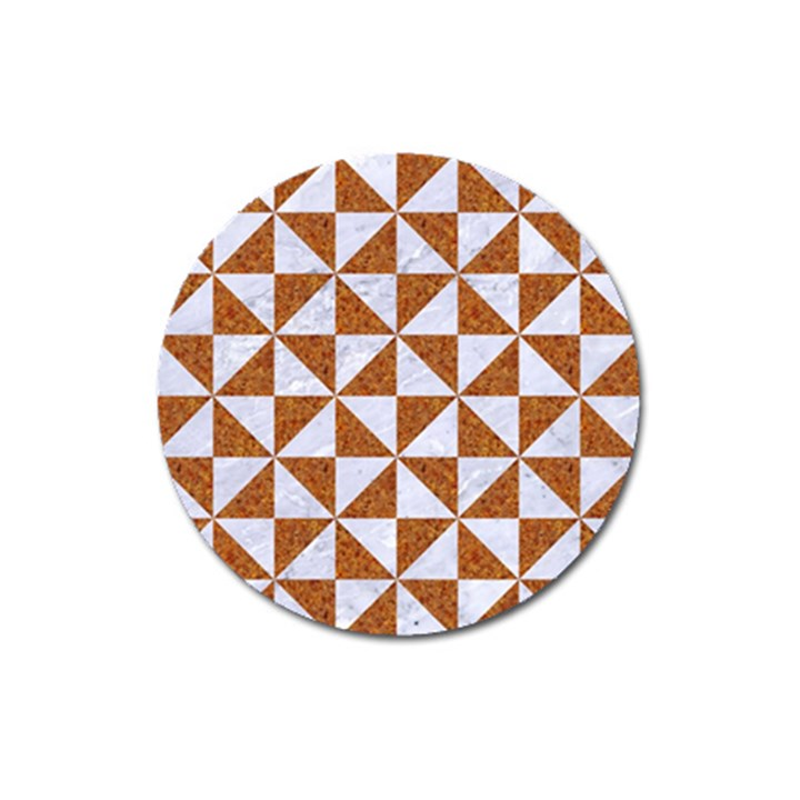 TRIANGLE1 WHITE MARBLE & RUSTED METAL Magnet 3  (Round)