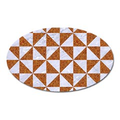 Triangle1 White Marble & Rusted Metal Oval Magnet