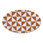 TRIANGLE1 WHITE MARBLE & RUSTED METAL Oval Magnet Front
