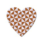 TRIANGLE1 WHITE MARBLE & RUSTED METAL Heart Magnet Front